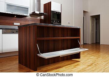Open wood locker - Modern interior and details in european...