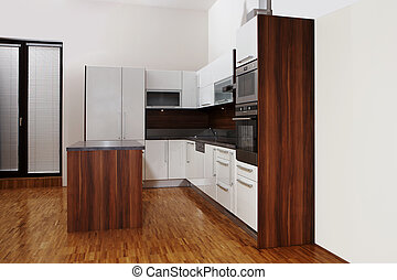 Side wiev to the big kitchen - Modern interior and details...
