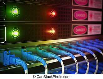 IT Equipment - Close up of network infrastructure in data...
