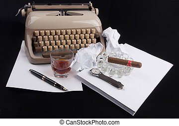 Old german type writer with paper, cigare, vintage watch and...