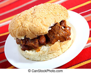 Sloppy joe with chili - A sloppy joe style sandwich made...