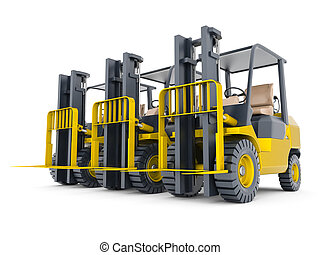 modern forklift isolated on white background
