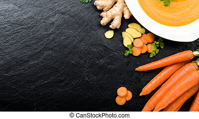Carrot ginger soup - Fresh carrot ginger soup with...