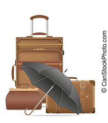 set icons travel bags vector