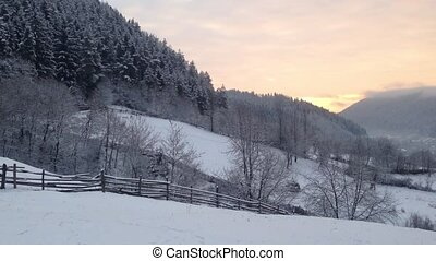 Winter landscape at sunrise - Rural winter landscape at...