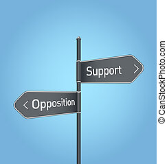 Support vs opposition choice road sign on blue background