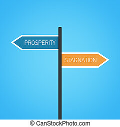 Prosperity vs stagnation choice road sign