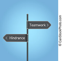 Teamwork vs hindrance choice road sign concept, flat design