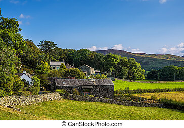 Stone barn in Cumbria - Hamlet with stone barn and group of...