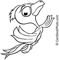 Flying Bird - Outlined Cartoon Illustration, Vector
