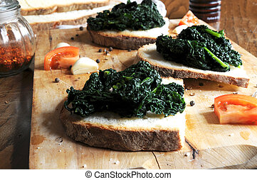 Canap? with black cabbage