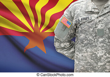 American soldier with US state flag on background - Arizona
