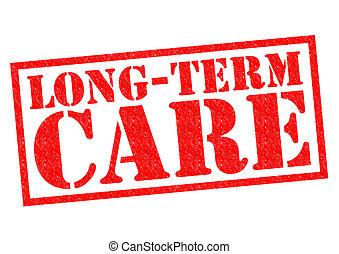 LONG-TERM CARE red Rubber Stamp over a white background
