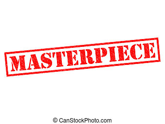 MASTERPIECE red Rubber Stamp over a white background