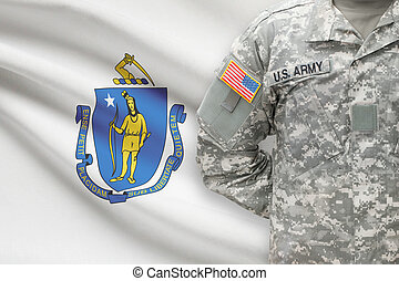 American soldier with US state flag on background -...