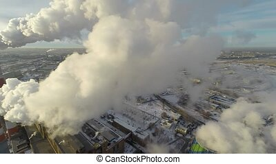 Industrial Smokes Aerial - Smoke leaving a factory pipe...