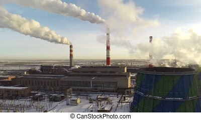 Panorama of a thermal power plant from a great height