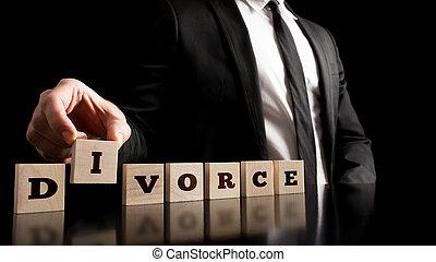 Divorce Letters on Black Background - Close up Businessman...