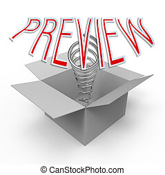Preview - 3d cardboard box with pop-up caption 'Preview'....