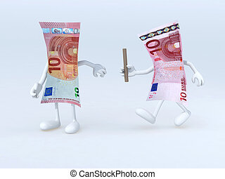 relay between old and new 10 euro notes, 3d illustration