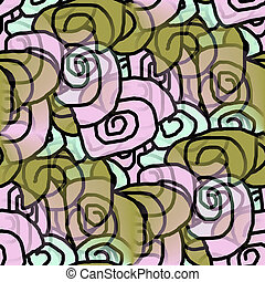 seamless texture of abstract green purple circles curls...
