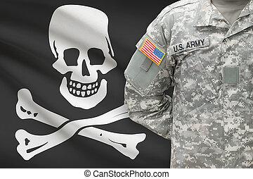 American soldier with flag on background - Jolly Roger -...