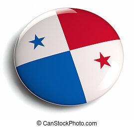 Panama flag design round badge.