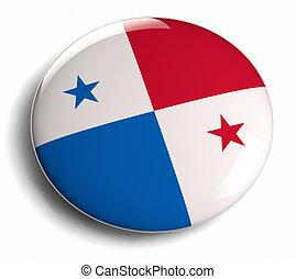 Panama flag design round badge.