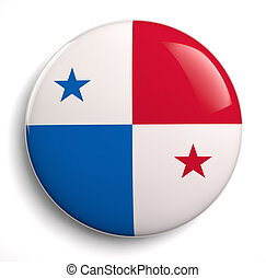 Panama flag icon. Clipping path included.