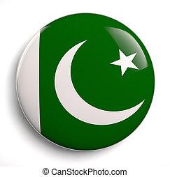 Pakistan flag - Pakistani flag icon on white. Clipping path...