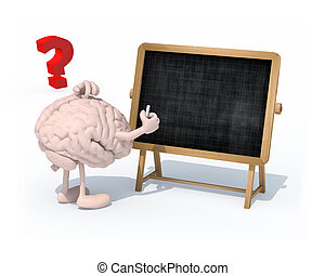brain with arms, legs and chalk on hand in front of...