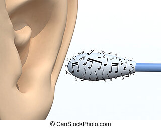 ear, cotton swabs and musical notes - human ear and cotton...