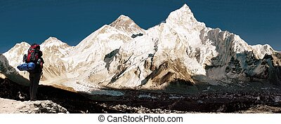 panoramic view of Mount Everest with beautiful sky, tourist...