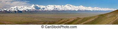 Panoramic view of Pamir mountain and Pik Lenin - Kyrgyzstan