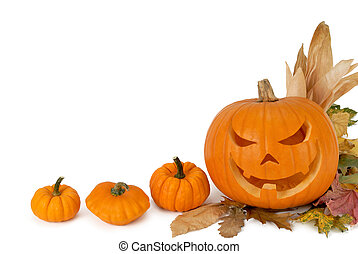Pumpkin border - Jack-o-lantern, small pumpkins and foliage...