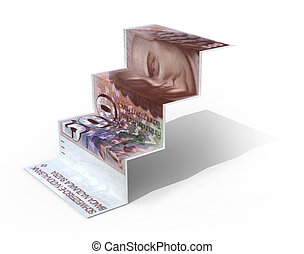 500 swiss franc banknote folded as steps on white...