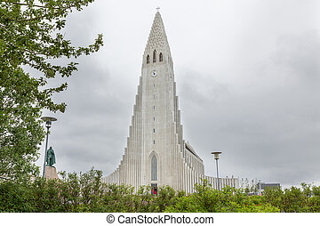 Hallgrimskirkja Cathedral in Reykjavik, Iceland - Top of...