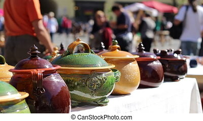 Handmade Food Pottery - Colorful ceramic pots, round with...
