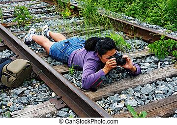 girl photographer - The girl photographer in summer park
