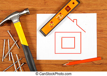 Construction tools on the wooden floor - Construction tools...