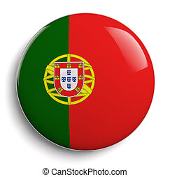 Portugal flag isolated button badge. Clipping path included.