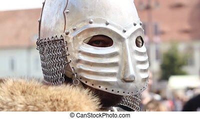 Knight with Helmet On - Medieval knight with steel helmet...