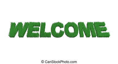 written welcome made with grass, 3d illustration