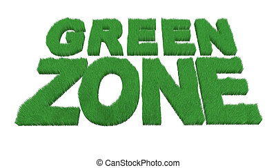 written green zone made with grass, 3d illustration
