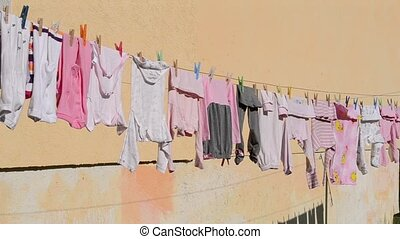 Kids Clothes Drying Outside - Some kids small clothes...