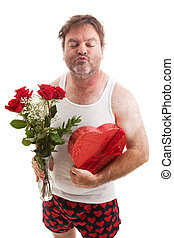 Valentines Day Kiss - Scruffy middle aged man in his...