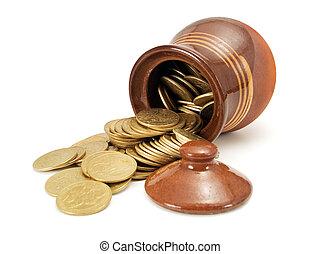 pote, moedas, Ouro