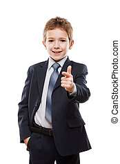 Smiling child boy in business suit index finger pointing...