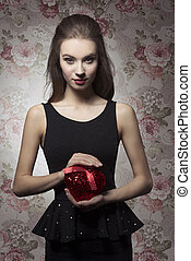Valentines day - Young, beautiful, romantic, elegant girl in...