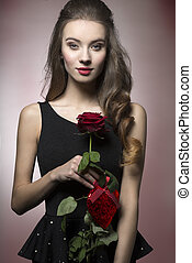 Valentine girl with rose